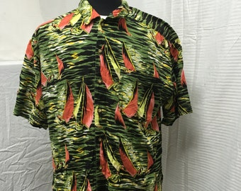 Royal Robbins, Hawaiian shirt, mens, large, 100% rayon, sail boats
