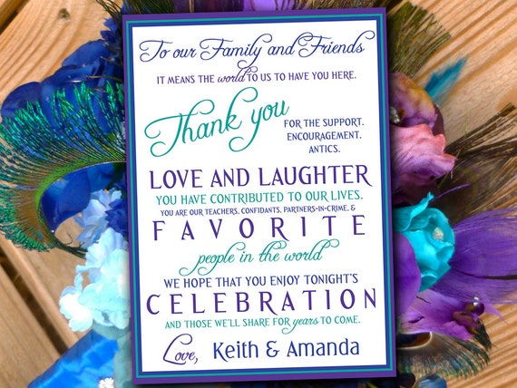 Peacock Wedding Thank You Card Program Card Invitation
