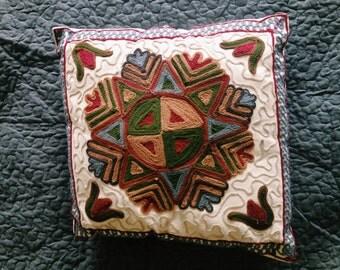 SALE ****** Vintage Mandala Handmade Embroidered Pillow