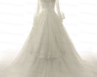 High Quality Long Sleeves Lace Wedding Dress A-Line Handmade Bridal Gowns White Or Ivory Lace Wedding Dresses With Veil