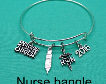 RN Gift, Nurse Gift, Nurse Jewelry, RN, Registered Nurse, Graduation Gift, Nurse Graduation, Gift for Nurse, Nurse Charm Bracelet, Bangle