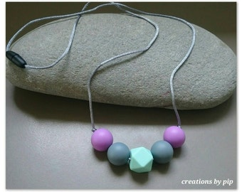 Silicone Teething Necklace on Silk Cord