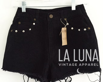 """Black Vintage High-Rise Denim Shorts with Small Silver Studs, Size 29, Waist Size 25"""""""