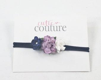 Navy Headband, Lavender headband, Flower headband, Purple Headband, Navy Birthday Headband, nylon Headband, navy flower Headband