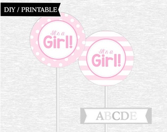 Instant Download Pink Cupcake Toppers, Polka Dots, Stripes, It's a Girl Baby Shower Toppers DIY Printable (PDEE001)