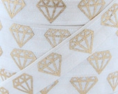 White Metallic Gold Diamond Print Fold Over Elastic - Elastic for Baby Headbands and Hair Ties - 5 Yards 5/8 inch Printed FOE
