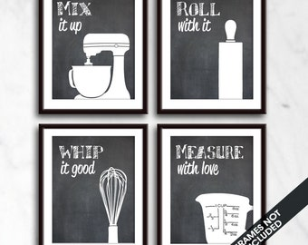 Funny Kitchen Art Print Set (Mixer, Rolling Pin, Whisk and Measuring Cup) Set of 4 - Art Prints (Featured on Blackboard)