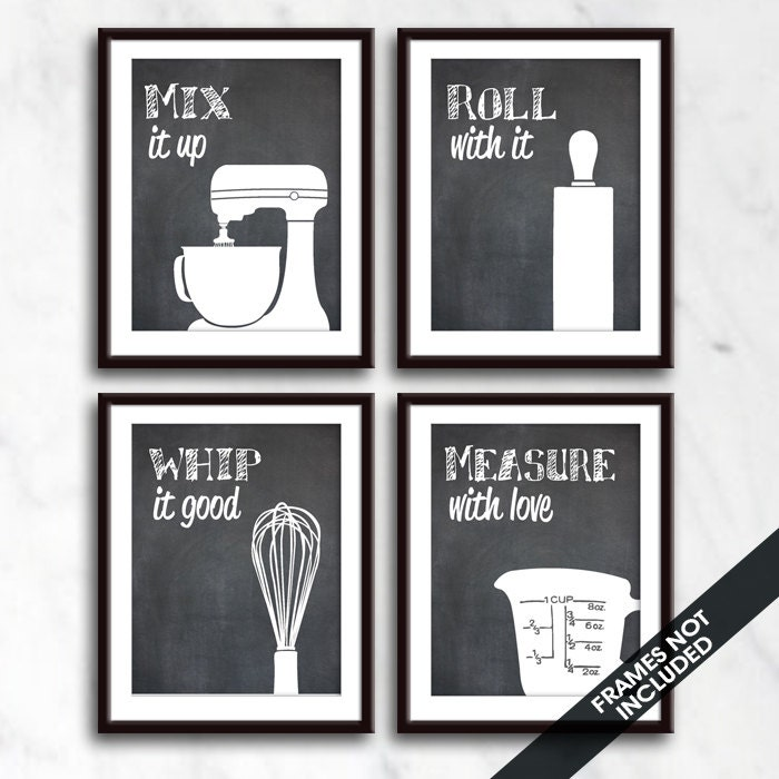 Funny kitchen art print set mixer rolling pin whisk and for Funny kitchen set