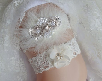 Lace Ivory Wedding Garter, Lace and Pearl Wedding Garter, Lace Wedding Garter Sets, Bridal Garters, Rhinestone Garter, Wedding Garter Set,