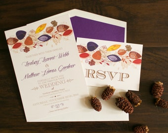5x7 Fall Wedding Invitation with Leaves in Purple, Red, Orange and Gold with Postcard RSVP & Printed Return Address Envelope