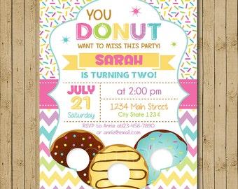 Donut Birthday Invitation, Donut Party Birthday Invitation, Donut Invitation, Donuts Invitation, Doughnut Invitation, printable