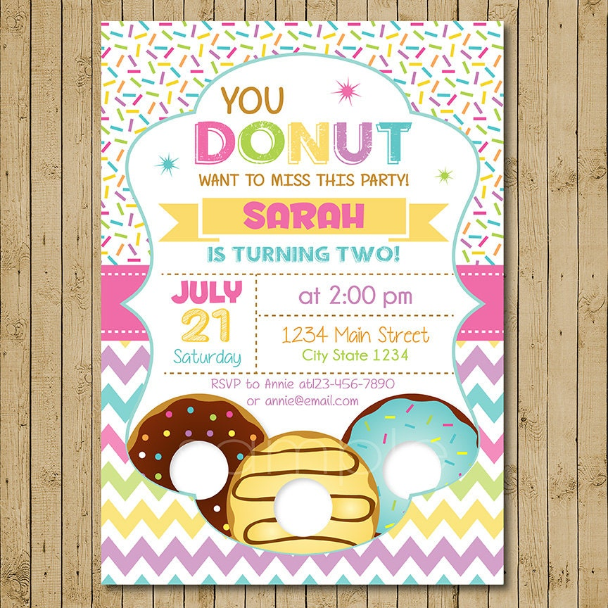 Donut Birthday Invitation Donut Party Birthday Invitation