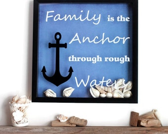 Shadow Box Wall Decor - Vinyl Wall Decor Quote - Framed Sayings - Framed Quotes - Picture Quotes - Nautical Theme - Framed Wall Art - Beach