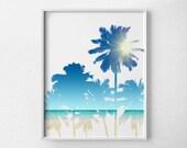 Palm Tree Print, Palm Tree Art, Beach Art, Beach Decor, Beach Print, Beach Bathroom Art, Summer Art, Beach House Decor, Beach Poster, 0470
