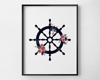 Ship Wheel Print, Floral Art, Nautical Decor, Ship Wheel Decor, Nautical Nursery, Nautical Print, Beach Art, Nautical Bathroom, 0472
