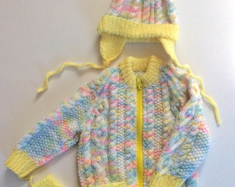 """Hand Knitted Baby Girl Sweater with Hat and Mitts, 18"""" Chest, yellow pink, baby knitwear child clothes"""