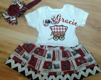 OU Sooners Onesie with matching hair bow and headband