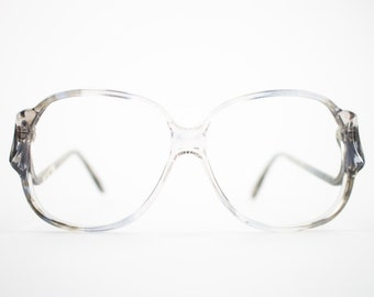 70s Vintage Glasses   Clear Grey Oversized Round Eyeglass Frame   NOS 1970s Eyeglasses   Deadstock Eyewear  - Riga 2