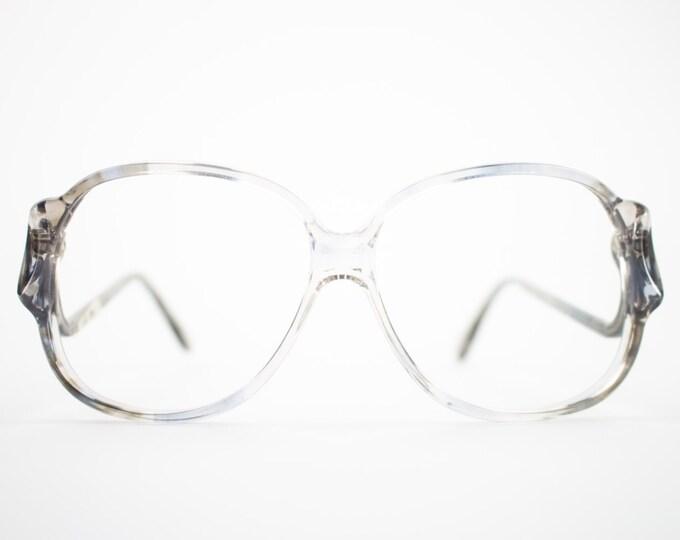 70s Vintage Glasses | Clear Grey Oversized Round Eyeglass Frame | NOS 1970s Eyeglasses | Deadstock Eyewear  - Riga 2