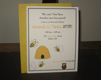 Bumble Bee Birthday Invitation - Bumbe Bee Party - Bumble Bee Girl