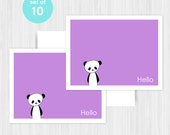 Panda Hello Greeting Card Set Blank Handmade Notecards Note Cards Notes Boxed Set Stationery Gifts For Friend Her Teacher Hostess Pack of 10