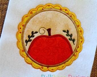 Pumpkin Applique Design - Fall Applique Design - Thanksgiving Applique Design - Pumpkin Embroidery - Thanksgiving Embroidery