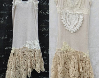 Cotton Oatmeal Crochet Skirt Upcycled Clothing, Boho Shabby Chic, OOAK, Romantic Clothing, Lace Flower, Floral Appliques, Asymmetrical Skirt