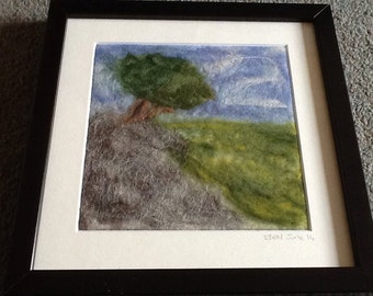 The Tree on the hill - Needle felted picture