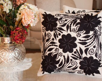 Pillow Cushion Cover Hand embroidered flowers