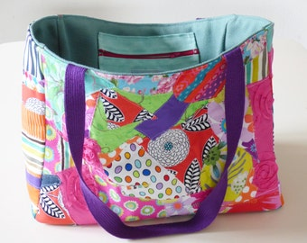 Colorful patchwork tote bag, market tote, eco friendly bag, myl & melo, fabric bag, for her,beach bag, week-end, spring, summer bag, flowers