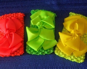 3 Baby Headwraps with Bows, Vibrant Colored Baby Headwraps,Stretchy Baby Headwraps