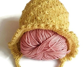 Baby bonnet, knitted newborn hat, golden bonnet, cute newborn bonnet