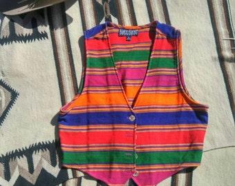 Women's Saltillo Western Vest Gypsy Boho Cowgirl Chic Clothing Accessory Southwest Santa Fe Mexican Serape Fabric