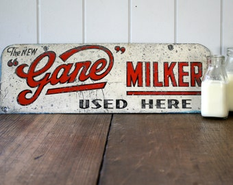 Rare Gane Milker Metal Sign Event Styling Prop Rusty Milk Dairy Industry Farmhouse Rustic Industrial