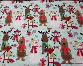 Christmas Flannel Fabric - Animals in Scarfs - 1 yard - 100% Cotton Flannel