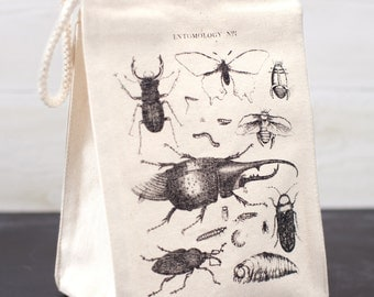 Insects Reusable Lunch Bag | Biology Entomology Vintage Bugs Beetle Butterfly Science Ecology Nerdy Camp Student Gift