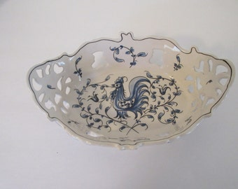 Vintage Portuguese Pottery Dish in Blue and White