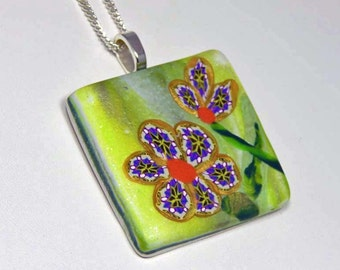 Polymer Clay Pendant with Floral Design. Polymer Clay Necklace. Floral Pendant.
