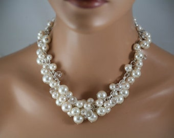 Ivory pearl necklace, chunky pearl necklace, wedding jewelry,  cluster pearl necklace in ivory pearls
