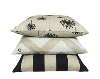 1 pillowcase ZIPPY beige natural zigzag stripe striped canvas 40 x 40 cm