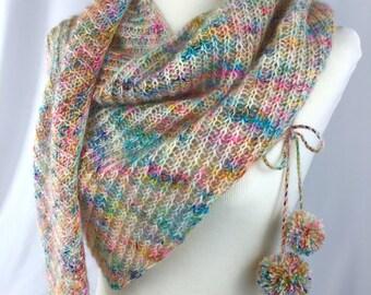 Shawl // shawlette // rainbow // speckle // mohair // Twyst Shawlette // hand knit