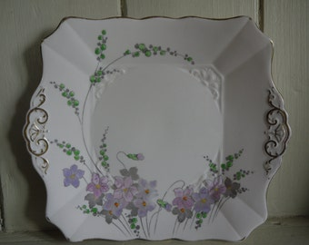 Handpainted vintage cake plate - Tuscan Ware Art Deco
