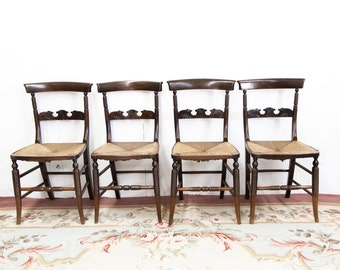 Set of Four English Carved Rush Seat Chairs