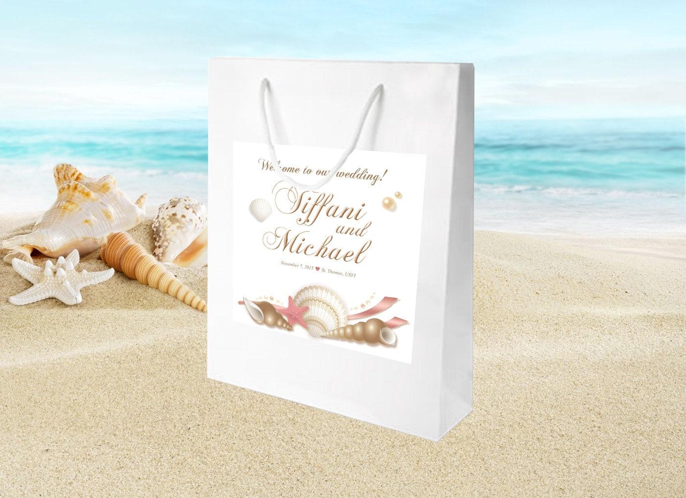 Beach Wedding Gift Bag Ideas: 20 TicTac Labels, Beach Destination Wedding Welcome Bag