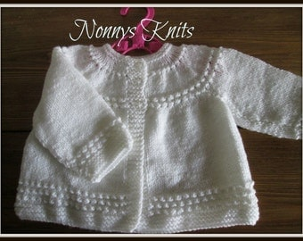 Hand Knitted vintage style cardign 0-3 months