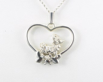 Sterling Silver Long Haired Chihuahua Necklace fr Donna Pizarro's Animal Whimsey Collection of Silver Long Haired Chihuahua Jewelry