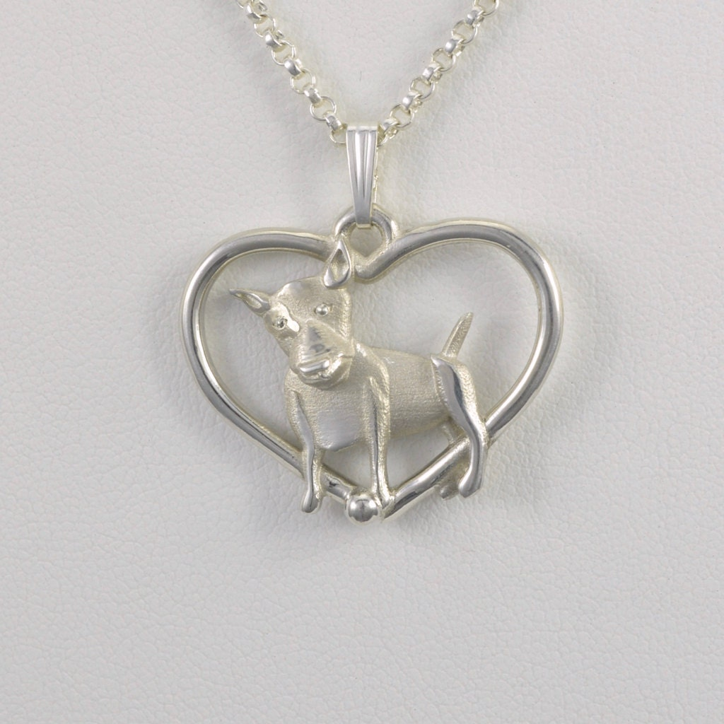 Sterling silver bull terrier pendant w 18 sterling ch for Just my style personalized jewelry studio
