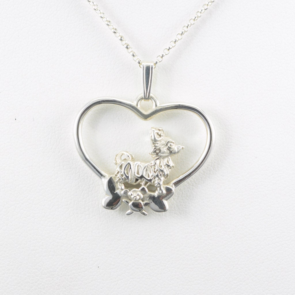 sterling silver haired chihuahua necklace fr donna