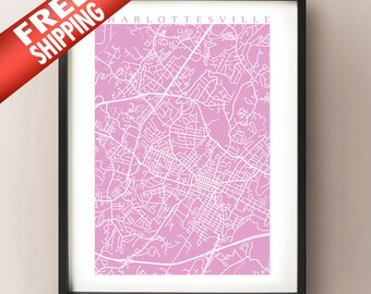 Charlottesville Map Print - Virginia Poster