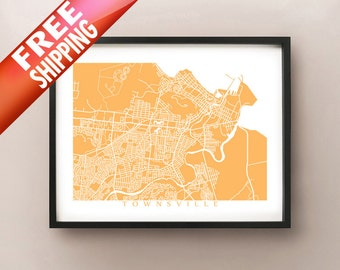 Townsville Map Print - Australia Poster Art